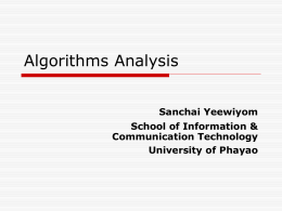 Algorithms Analysis