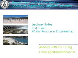Lecture Notes EGCE 421 Water Resource Engineering