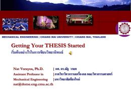 Getting Your THESIS Started (เริ่มต้นอย่างไรในการเขียนวิทยานิพนธ์)