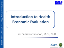 Introduction to Health Economic Evaluation