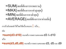 sum(เซลที่ต้องการหาผลรวม)
