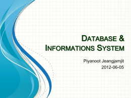 Database and Informations System18 - Site