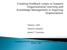 Creating Feedback Loops to Support Organizational Learning and