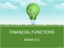 Type of Financial Functions