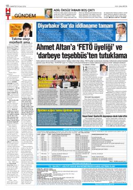 Ahmet Altan`a `FETÖ üyeliği` ve `darbeye teşebbüs`ten tutuklama
