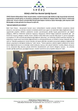 sedaş`a emo`dan mesleki işbirliği ziyareti 2016-09-18