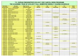 MYO - 2016-17 GÜZ YARIYILI DERS