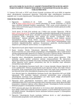 1. Usul ve Esaslar - Yükseköğretim Kurulu