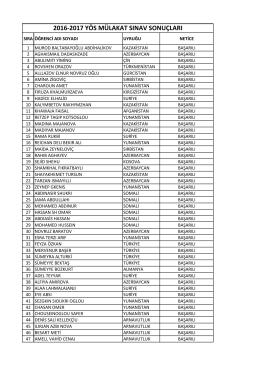 2016-2017 yös mülakat sınav sonuçları