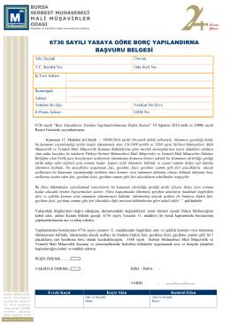 6736 sayılı yasaya göre borç yapılandırma başvuru belgesi