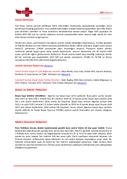 Şirket ve Sektör Haberleri Makro Ekonomi Haberleri