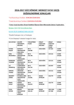 2016-2017 güz dönemi merkezi yatay geçiş değerlendirme sonuçları