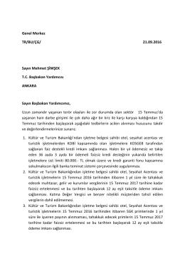 Başbakan Yardımcısı Sayın Mehmet Şimşek`e Arz Edilen