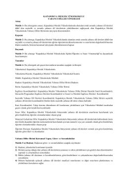KMYO Yabancı Diller Yönergesi - Kapadokya Meslek Yüksekokulu