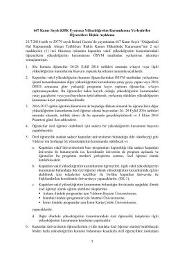 667 Karar Sayılı KHK Uyarınca Yükseköğretim