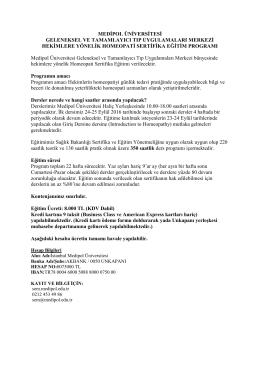EYL 24 Hekimlere Yönelik Homeopati Sertifika Eğitim Programı