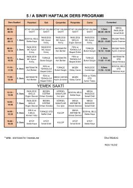 5 / a sınıfı haftalık ders programı yemek saati
