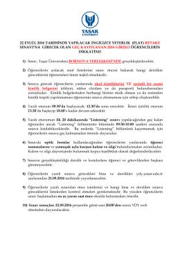22.06.2016 FLAT RETAKE Duyurusu