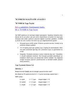 1 H NMR ile Kalitatif Analiz