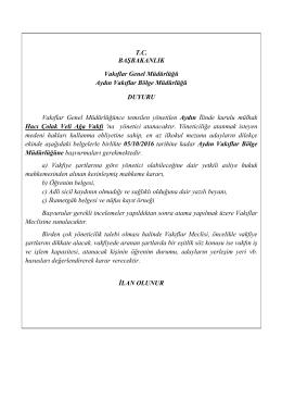 TC BAŞBAKANLIK Vakıflar Genel Müdürlüğü Aydın