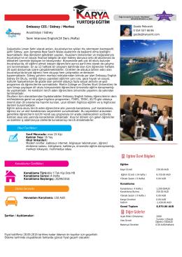 Embassy CES / Sidney / Merkez Avustralya / Sidney Semi Intensive