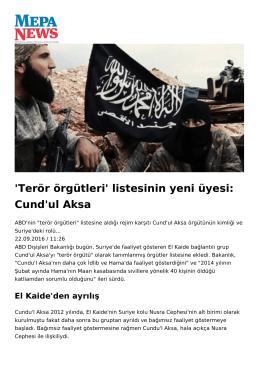 `Terör örgütleri` listesinin yeni üyesi: Cund`ul Aksa