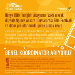 Eleman ilan - Ankara Uluslararası Film Festivali
