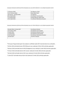 *Formasyon Programında başarılı olan adayların sertifikaları Şubat