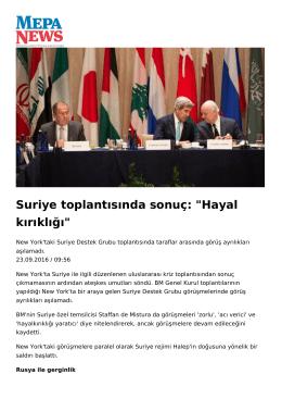 """Suriye toplantısında sonuç: """"Hayal kırıklığı"""""""
