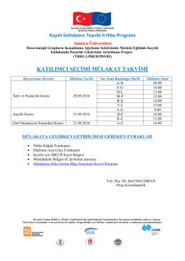 katılımcı seçimi mülakat takvimi