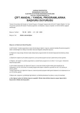 çift anadal / yandal programlarına başvuru duyurusu