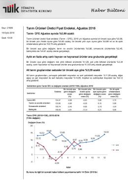 Tarım Ürünleri Üretici Fiyat Endeksi-(Ağustos 2016