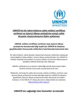 UNHCR`nin sağladığı tüm hizmetler ücretsizdir