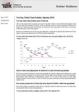 Yurt Dışı Üretici Fiyat Endeksi-(Ağustos 2016