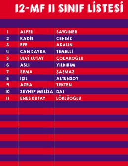 listesi 12-mf ıı sınıf listesi