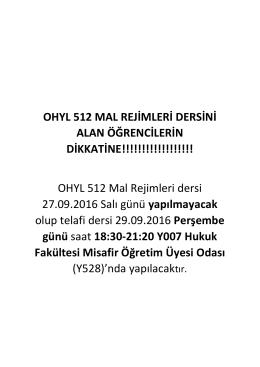 OHYL 512 MAL REJİMLERİ DERSİNİ ALAN