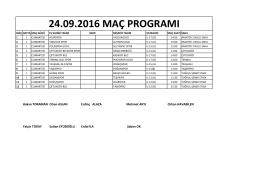 1 Hafta Maç Programı