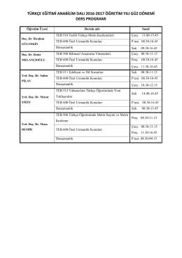 türkçe eğitimi anabilim dalı 2016-2017 öğretim yılı güz dönemi ders