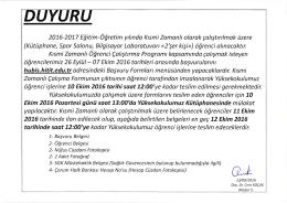 2016-2017 Eğitim-Öğretim yılındo Ksmi Zamanlı olqrok çolıştırılmok