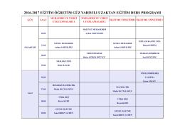 2016-2017 eğitim öğretim güz yarıyılı uzaktan eğitim ders programı