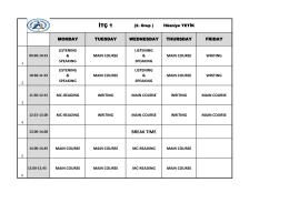 Hazırlık Sınıfları Listesi