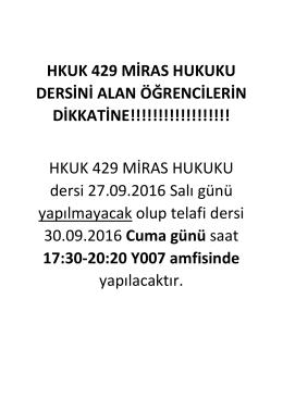 HKUK 429 MİRAS HUKUKU DERSİNİ ALAN ÖĞRENCİLERİN