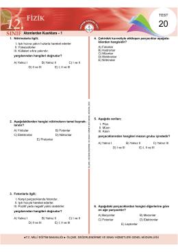 Atomlardan Kuarklara – 1 - Ölçme, Değerlendirme ve Sınav