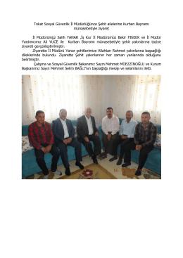 Tokat Sosyal Güvenlik İl Müdürlüğünce Şehit ailelerine Kurban