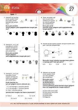 Optik – 1 - Ölçme, Değerlendirme ve Sınav Hizmetleri Genel