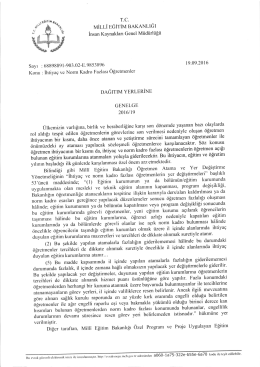 bakanlık üst yazısı - Ortaöğretim Genel Müdürlüğü