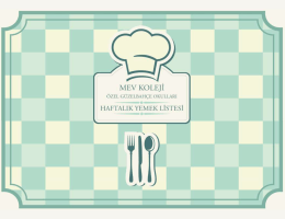 Yemek Menüsü - MEV Koleji Özel Güzelbahçe Okulları