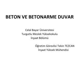 beton ve betonarme duvar - Celal Bayar Üniversitesi
