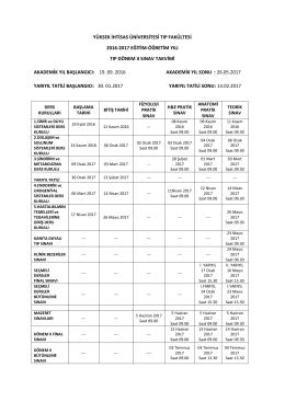 Tıp Dönem 2 Sınav Takvimi - Yüksek İhtisas Üniversitesi