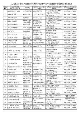 avcılar ilçe milli eğitim müdürlüğü ücretli öğretmen listesi